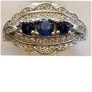 Jewelry - 2.50ct Blue & White Sapphire Ring Size 6